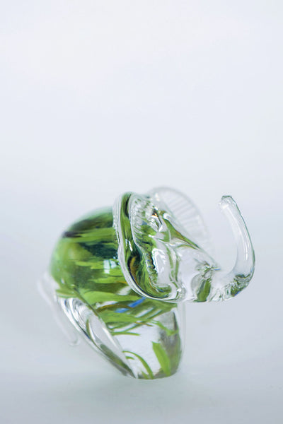 Elephant with accents of green, blue and clear glass handmade in ireland