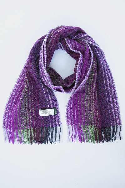 Irish woven merino wool scarf in purple and white with threads of green and black crafted near Muckross House in Killarney