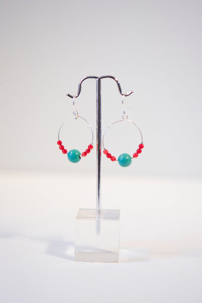 Alison Walsh Jewellery - Red coral and turquoise bead /silver plated hoop earrings