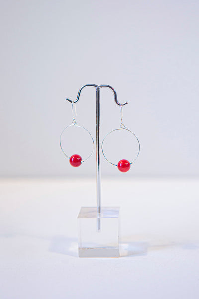 Alison Walsh Jewellery - Red Coral  Silver Plated Hoop Earrings