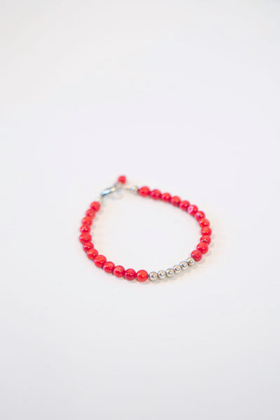 Alison Walsh Jewellery - Red Coral  Silver Plated Bracelet