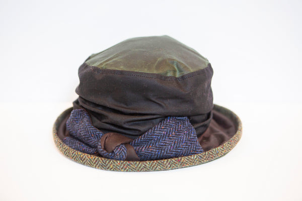Kathleen Mc Auliffe Milliner - Jess Rainhat with Tweed Trim - Green with Blue Bow