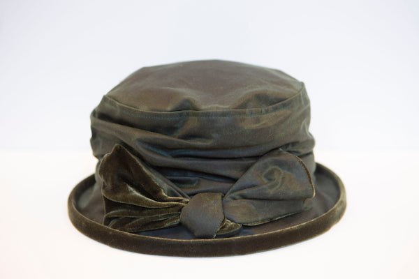 Kathleen Mc Auliffe Milliner - Jess Rainhat with Velvet Trim- Green