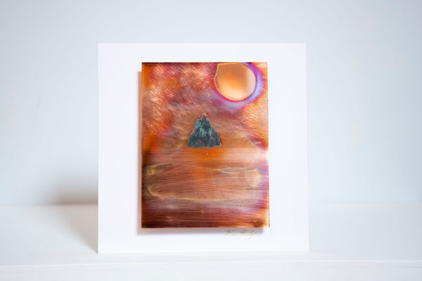 "Ken Bolger Stone and Copper Artist -  ""Skellig Michael"" Small Copper Frame"