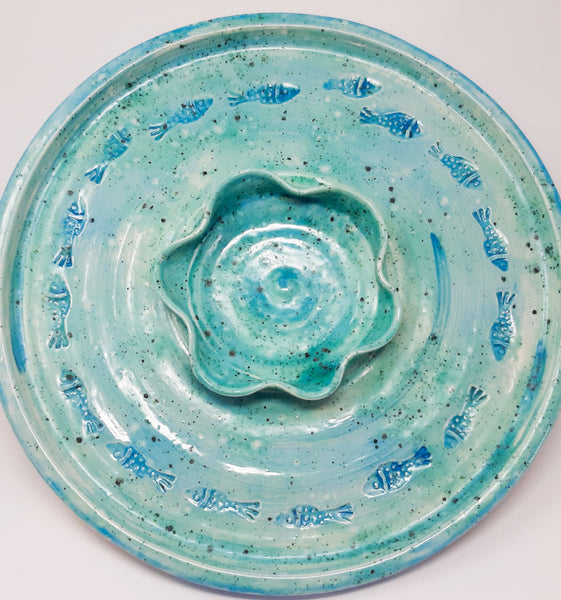 Skellig Pottery - Chip and Dip fish print Platter