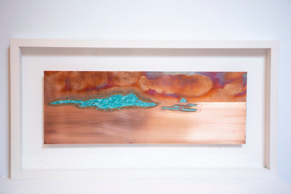 "Ken Bolger Stone and Copper Artist -  ""The Blasket Islands"" Medium Copper Frame"