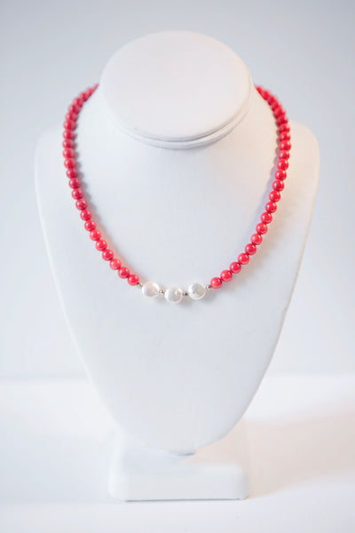 Alison Walsh Jewellery- Red Coral and Freshwater Pearl Necklace