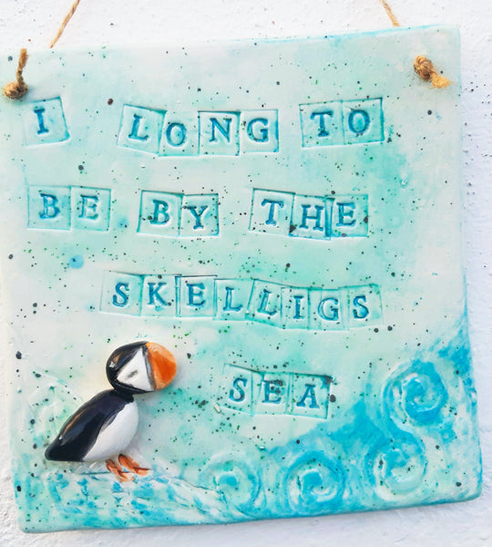 "Skellig Pottery - Puffin Wallhanging - ""I long to be by the Skellig Sea"""