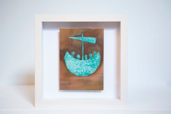 "Ken Bolger Stone and Copper Artist : ""St. Brendan's Voyage"" Small Copper Frame"