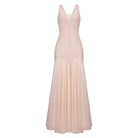 Lovefreya soft flowy long pink romantic gown