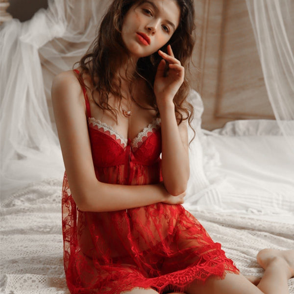 Brenda lace slip set Intimates LOVEFREYA S Red