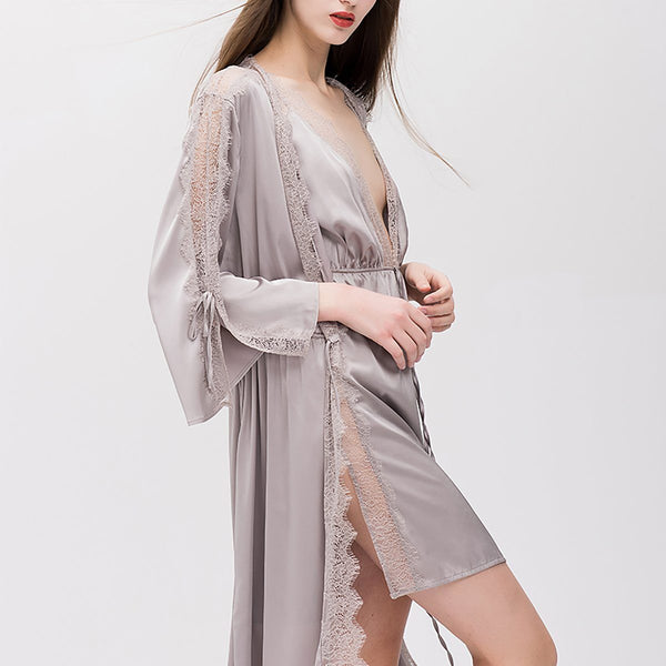 Carroll satin robe Intimates LOVEFREYA Grey