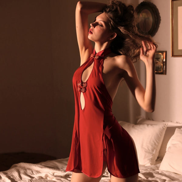 Chinese collar mesh slip set Intimates LOVEFREYA S Red