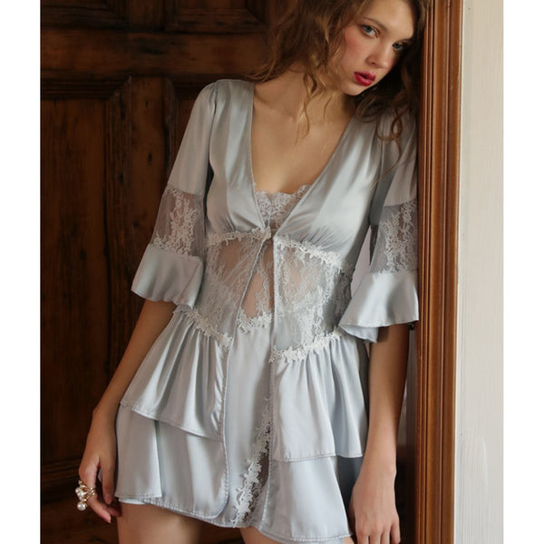 Dennie satin tiered robe Intimates LOVEFREYA S Ice Blue