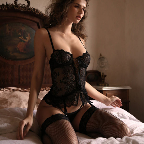 Emmeline bustier set Intimates Lovefreya Pte Ltd Black