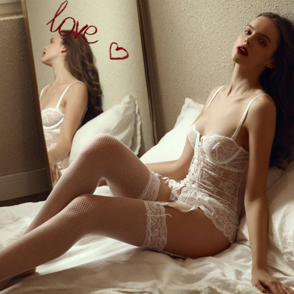 Emmeline bustier set Intimates Lovefreya Pte Ltd White