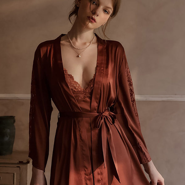 Fauna satin robe Intimates LOVEFREYA Brown