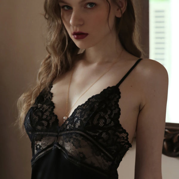 Fauna satin slip Intimates Lovefreya Pte Ltd M Black