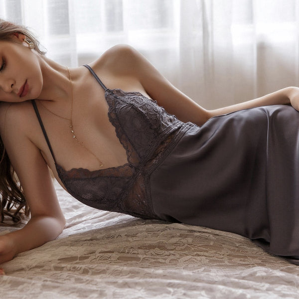 Fauna satin slip Intimates Lovefreya Pte Ltd S Greyish Blue