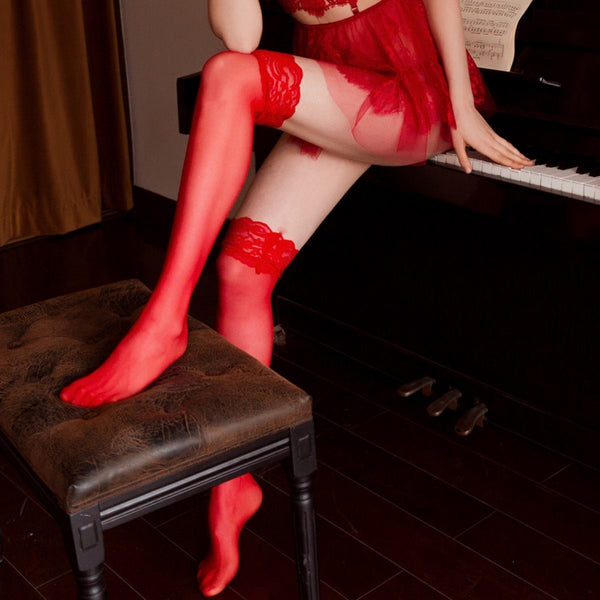 Fine net stocking Accessories LOVEFREYA Free size Red