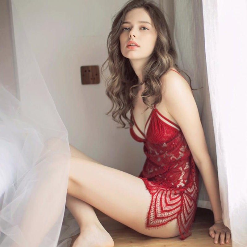 Isa lace slip set Intimates Lovefreya Pte Ltd Red