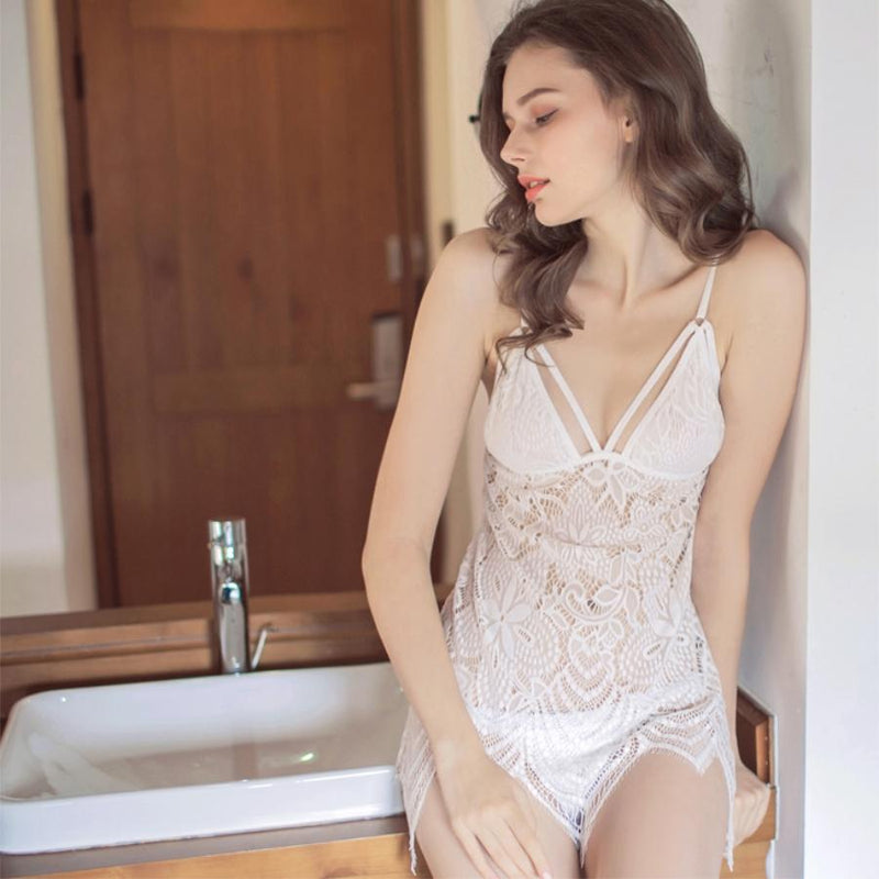 Isa lace slip set Intimates Lovefreya Pte Ltd White