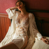 Julitta satin slip set Intimates Lovefreya Pte Ltd S White