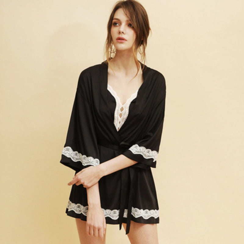 Kraimbrery satin slip and robe Intimates LOVEFREYA S Black Slip + Robe
