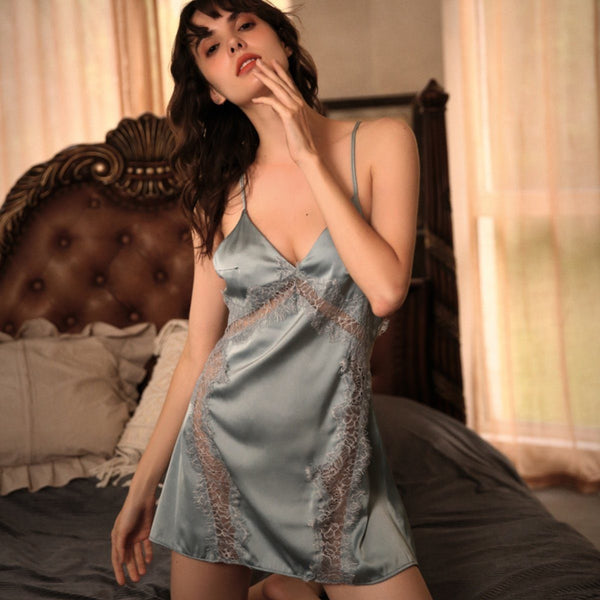 Leonida satin slip Intimates LOVEFREYA S Blue