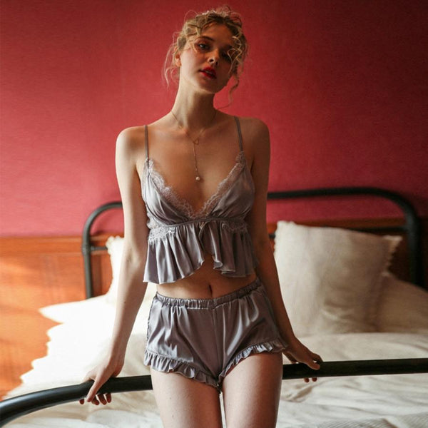 Lorna 2 piece pajamas Intimates Lovefreya Pte Ltd Grey