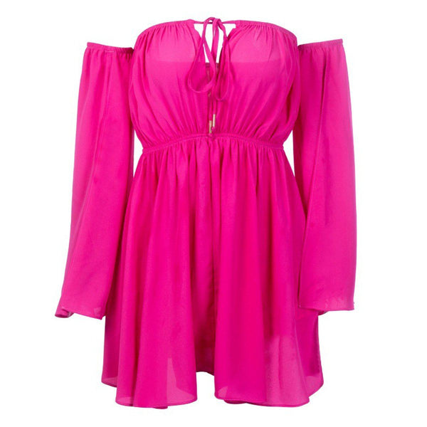 Maldives off-shoulder dress Dress Lovefreya.co S Pink