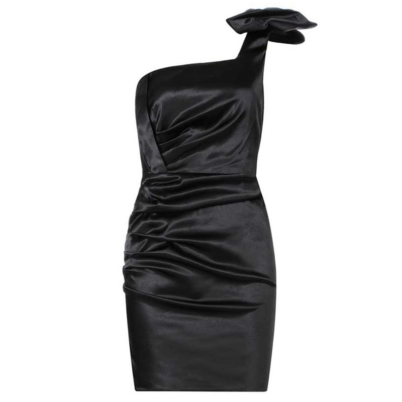 Mimi satin toga Dress Lovefreya Pte Ltd XS Black