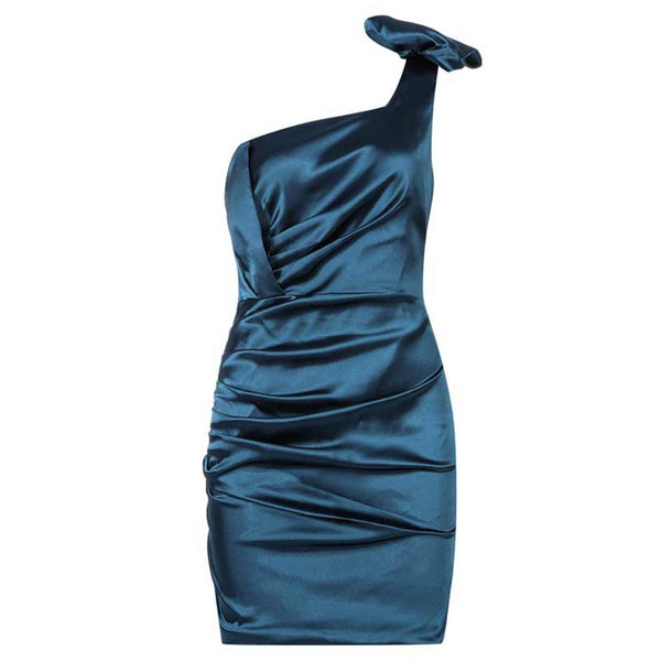 Mimi satin toga Dress Lovefreya Pte Ltd XS Blue