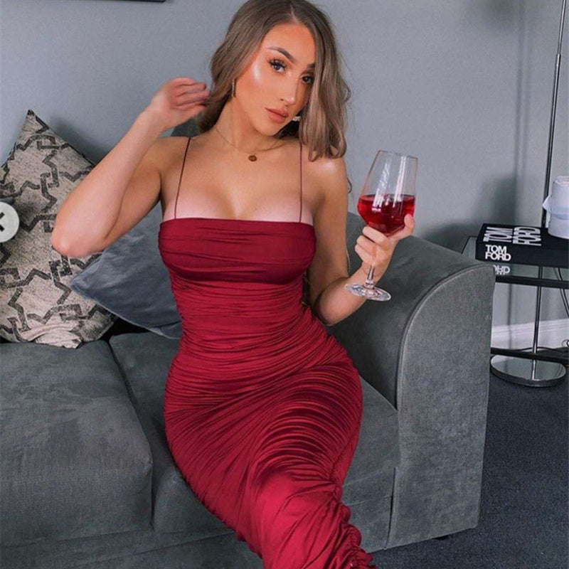 Monique ruched long dress Dress LOVEFREYA S Wine