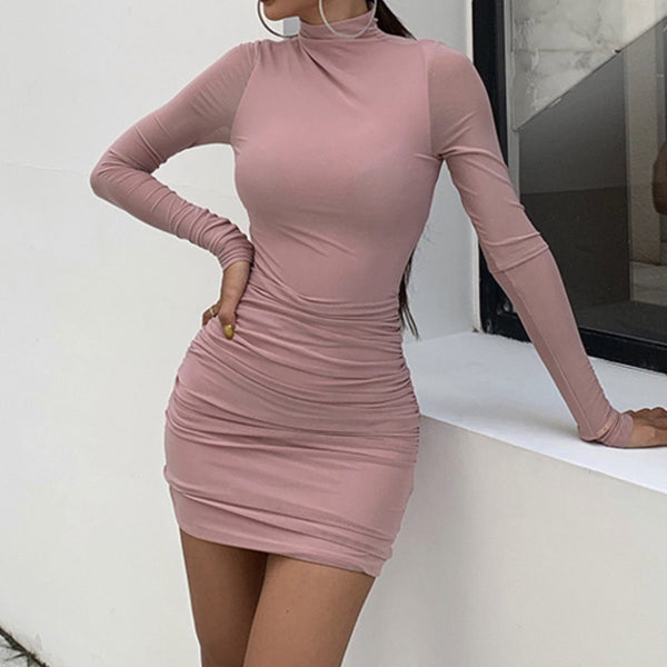 Rianna long sleeve dress Dress Lovefreya Pte Ltd S Pink