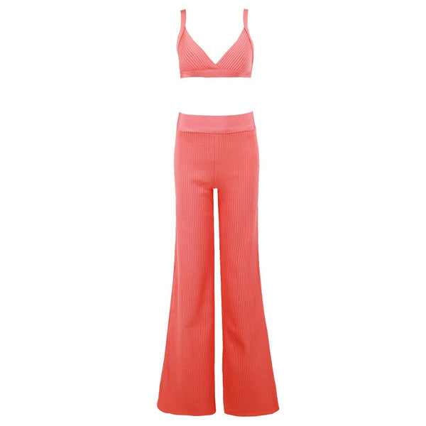 Ribbed 2 piece bandage Jumpsuit Lovefreya.co XS Salmon