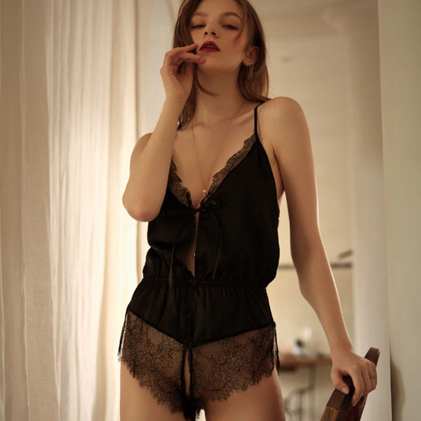 Ruth satin & lace romper Intimates LOVEFREYA Black
