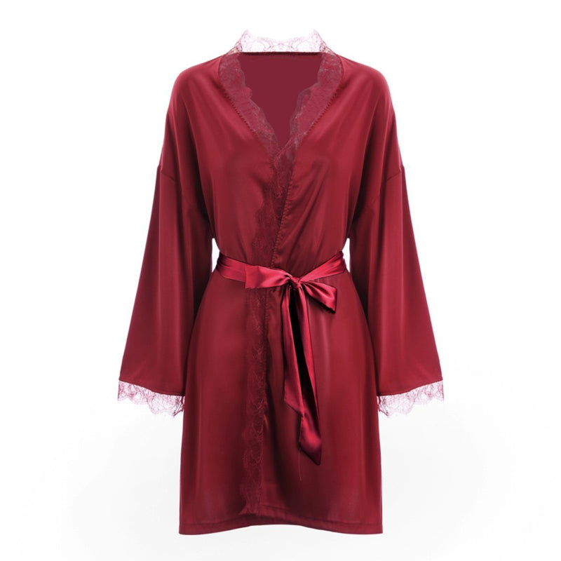 Sierra satin robe Intimates LOVEFREYA Wine