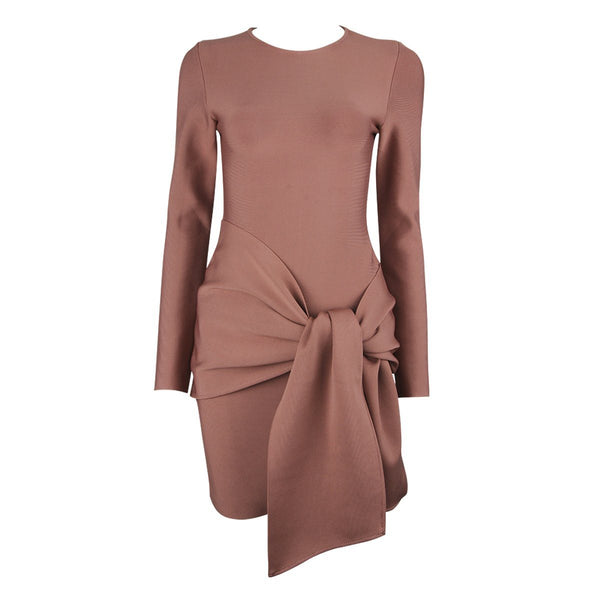 Simple long sleeve bandage Dress Lovefreya.co XS Brown