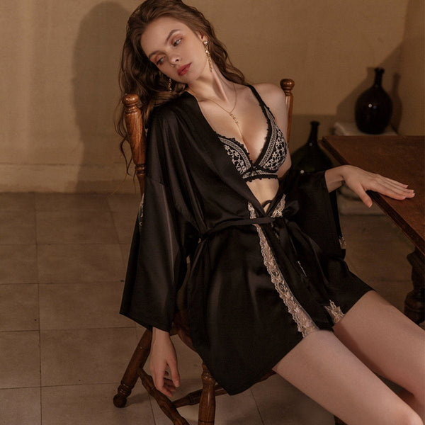 Sofina satin robe Intimates LOVEFREYA Free size Black