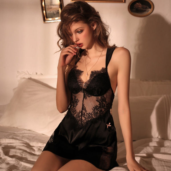 Swannel satin slip set Intimates LOVEFREYA S Black