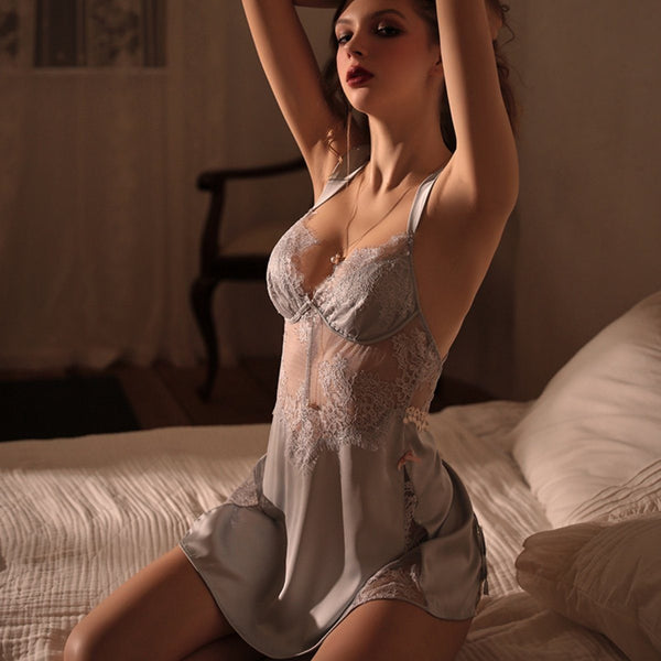 Swannel satin slip set Intimates LOVEFREYA S Grey