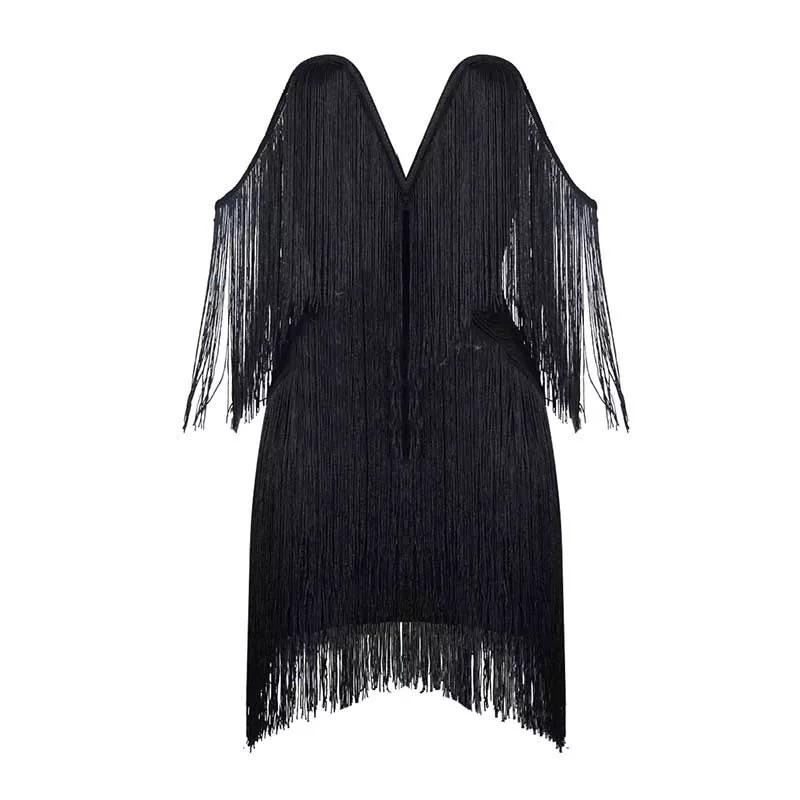 V-neck fringe bandage Dress Lovefreya.co XS Black