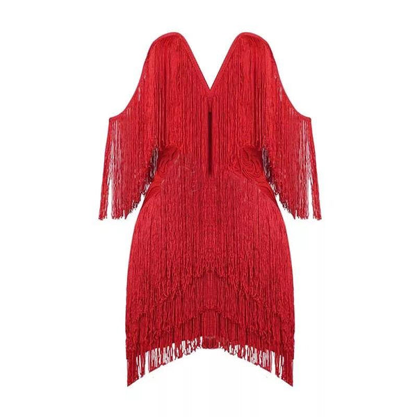 V-neck fringe bandage Dress Lovefreya.co XS Red