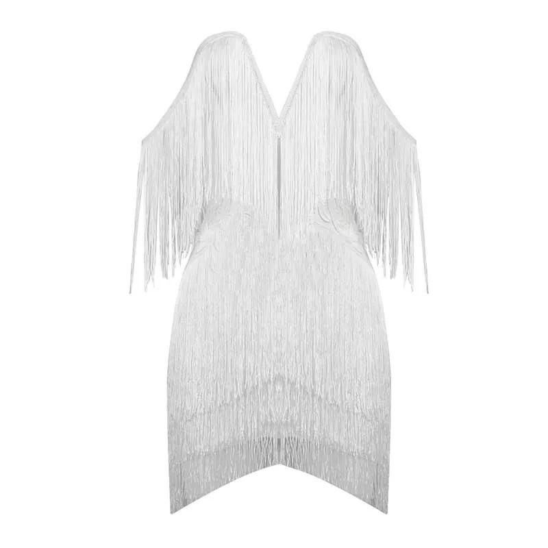 V-neck fringe bandage Dress Lovefreya.co XS White