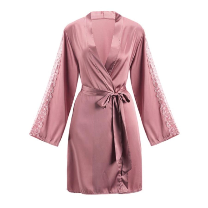 Willow satin slip Intimates Lovefreya Pte Ltd Robe only (free size) Pink