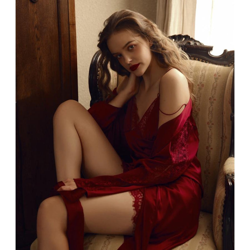 Willow satin slip Intimates Lovefreya Pte Ltd Robe only (free size) Red