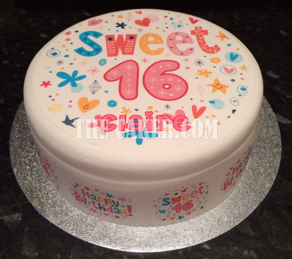 16th Birthday Edible Icing Cake Topper 02 The Caker Online