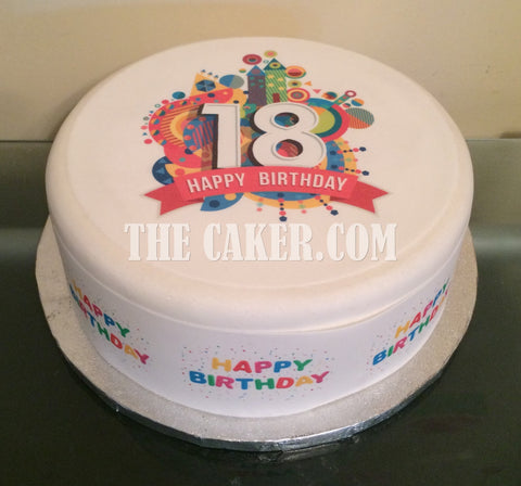 18th Birthday Edible Icing Cake Topper 03