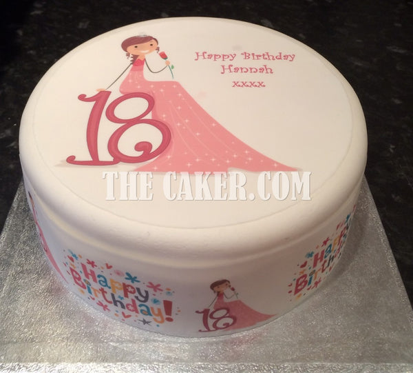 18th Birthday Female Edible Icing Cake Topper 02